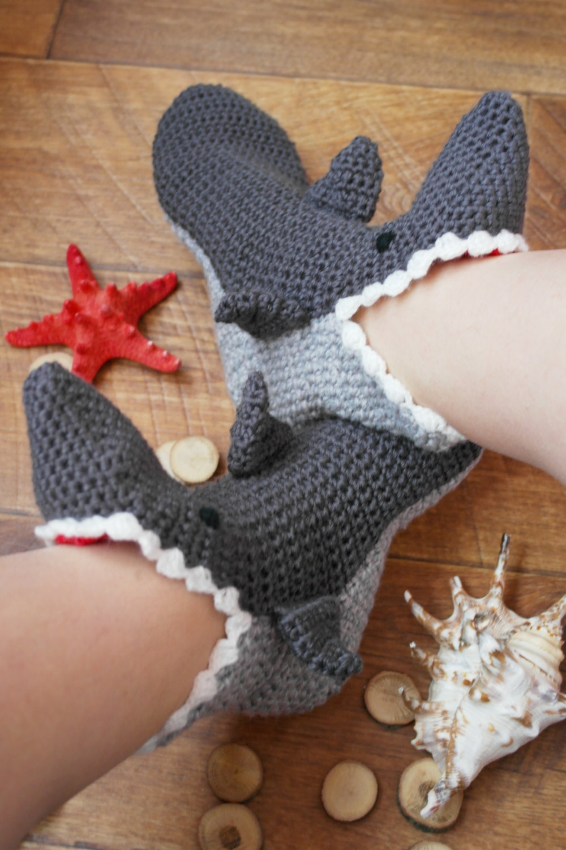 Crochet Shark Slippers Pattern Shark Slippers Dress Socks ...